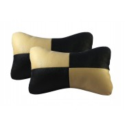 Designer Neck Cushion Pillow for Car (Black and Beige)- Set of 2