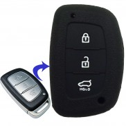 Car Silicone Rubber Key Cover for Hyundai Creta (Black) (Only Smart Key)