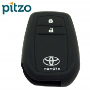 Car Silicone Key Cover for 2 Button Remote Smart Key Shell Body Case for Toyota Innova Crysta Push Button Start - Black
