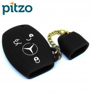 Car Silicone Key Cover Including Chain Cap for 3 Button Remote Smart Key Shell Body Case for Mercedes Benz